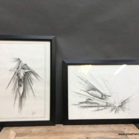 Pair 1950/60's Aeronautical Sketches, Signed