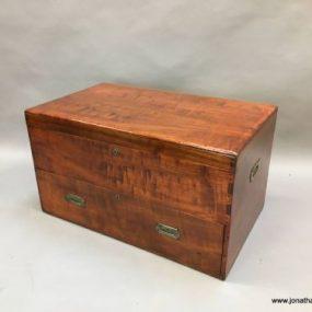 C19th mahogany campaign trunk