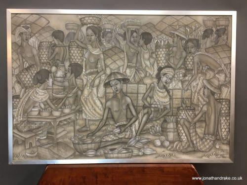 "Tempera on canvas- ""The Friut Market"", Ubud School"