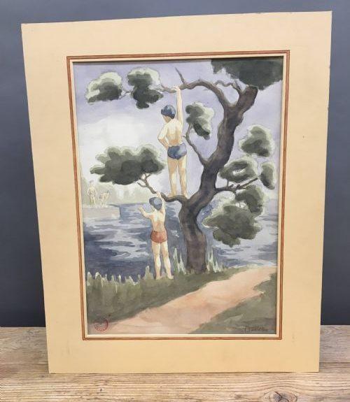"""Watercolour """"Bathers"""", by Joseph Smedley"""